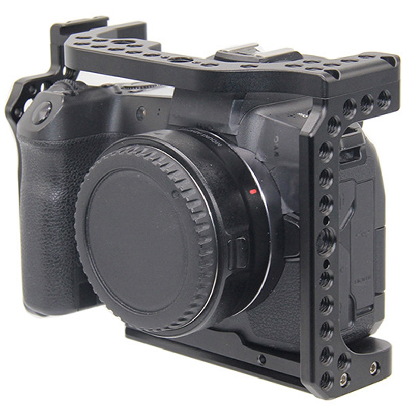 Camera Cage for Canon EOS R with Cold Shoe Mount Thread Holes for Magic Arm Microphone Attach