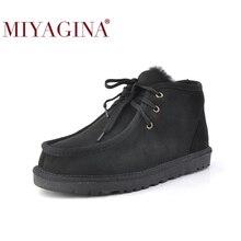 Botas de nieve Beckham de moda para hombres, zapatos de invierno con cordones, piel de oveja auténtica, piel natural, botas hasta el tobillo de lana, envío gratis