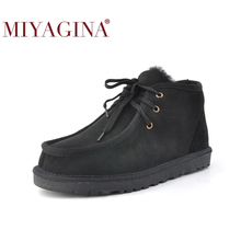 Snow-Boot Winter Shoes Lace-Up Ankle Fashion Wool Fur for Men Real-Sheepskin Nature Beckham