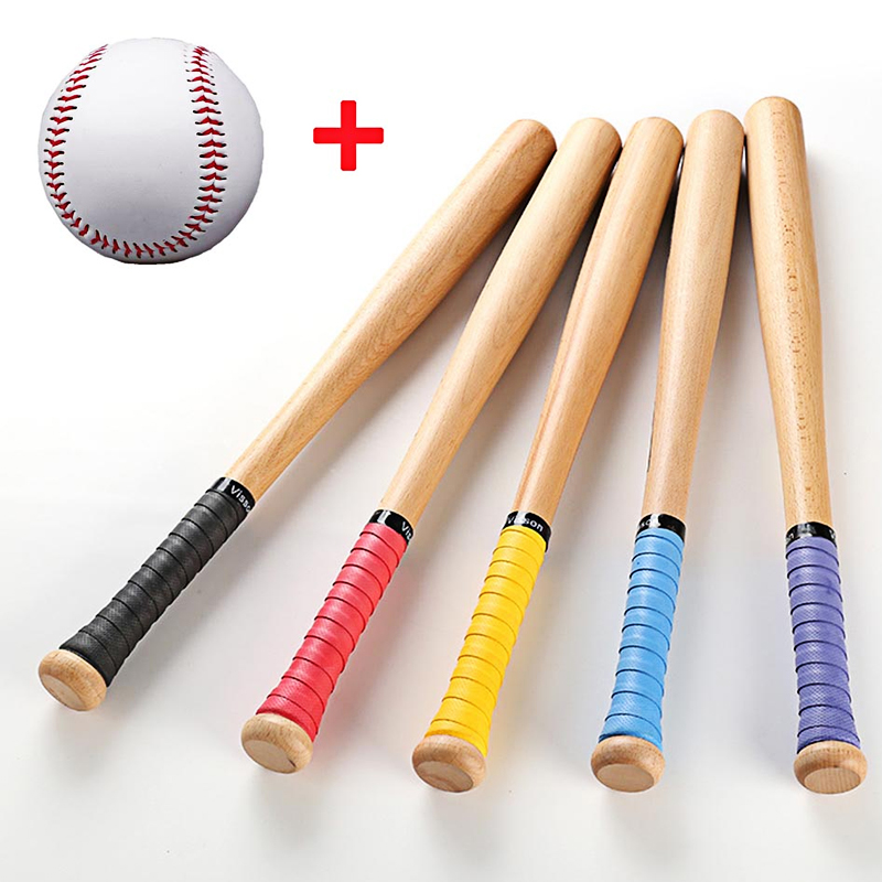 53cm 63cm 73cm Good Quality Solid Wood Baseball Bat Hardwood Baseball Stick Outdoor Sport Fitness Equipment With A Ball