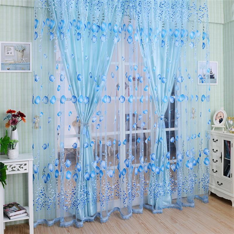 #<font><b>82018</b></font> Creative Window Curtains Sheer Voile Tulle for Bedroom Room Balcony Kitchen Printed Tulip Pattern Sun-shading Curtain CM image