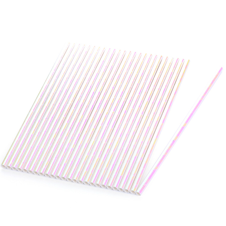 Manufacturers Customizable Disposable Environmentally Friendly Paper Straw Biodegradable Stripes Paper Straw Party Beverage Stra