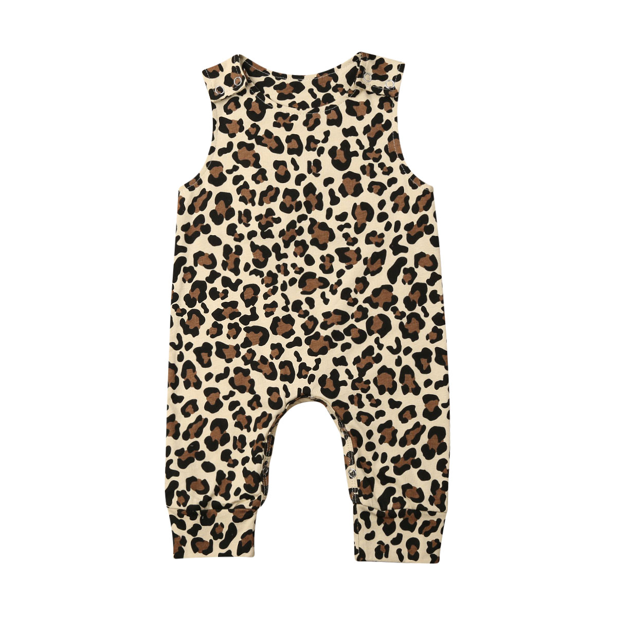 Summer Newborn Baby Girl Boy Clothes Leopard Romper Sleeveless Jumpsuit Outfits Sunsuit