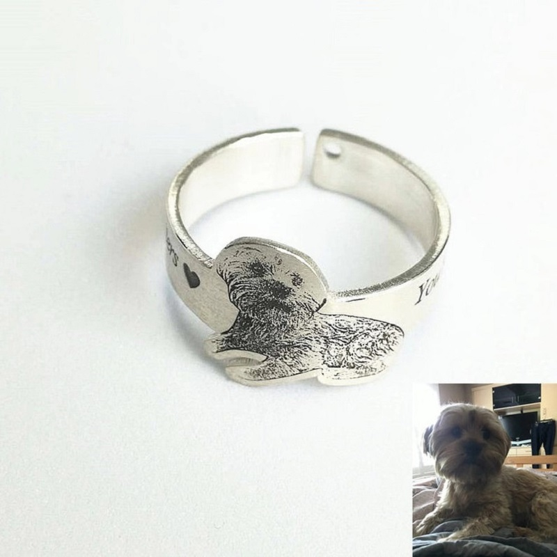 Pet Memorial Jewelry,Adjustable Band Ring,Engraved Pet Ring,Custom Pet Ring,Personalized Pet Ring,Dog Photo Rings