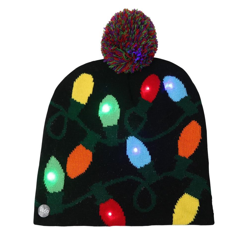 2019 New Adult Kids Christmas Party Dekoration Led Xmas Hat Light Knit Cap Party Colorful Light Adult Children Warm Hat