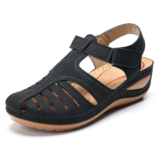 Woman 2020 Summer Leather Vintage Sandals Buckle Casual Sewing Women Retro Sandalias Female Ladies Platform Shoes 36-46