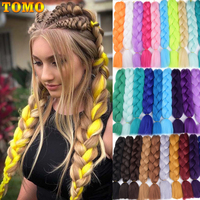 TOMO 24 Ombre Fiber Braiding Hair Extensions 100g Two Tone Crochet Braid Hair Synthetic Jumbo Braids 100 Colors Green Red Pink