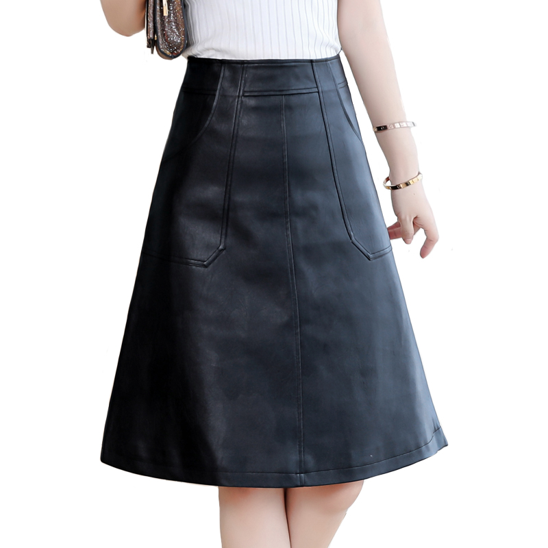 2020 Spring Women Midi Skirt Fashion Black Green Plus Size 4XL Office Wear High Waist A-Line Faux Leather Skirt Winter image