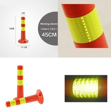 45CM High Increase Warning Reduce Danger Plastic Road Facilities Crossing Sign Safety Reflective Pile Elastic Column Cone