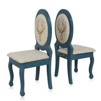 American style Mediterranean solid wood antique manicure table and chair set single double manicure table blue white