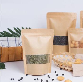 100 sztuk Zip Lock torebka z papieru pakowego z matowym okienkiem herbata opakowanie prezent torba żywności zamykane stojące torebki torba na zamek błyskawiczny