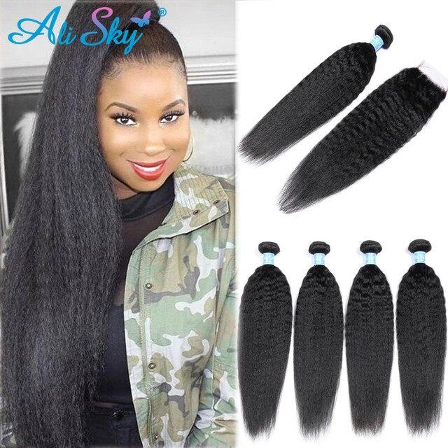 AliSky Hair 인디언 킨키 스트레이트 4 묶음 레이스 클로저 레미 헤어 익스텐션 휴먼 헤어 위브 번들 클로저 실키