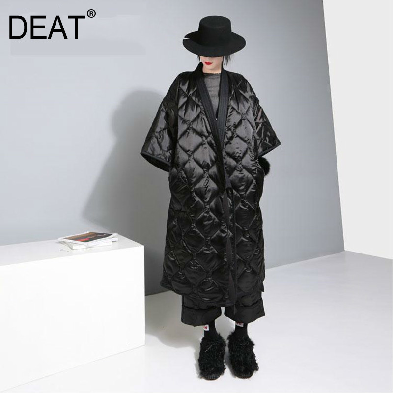 DEAT Japan Kimono Tied With Nightgown Style Three Quarter Sleeve Bat Sleeved Women Loose Plus Size 2020 Autumn Winter New TD681
