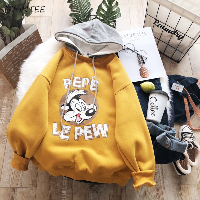 Hoodies Women Thicker Printed Korean Style Ladies All-match Kawaii Harajuku Hooded Pullover Female Warm Cartoon Lovely Students