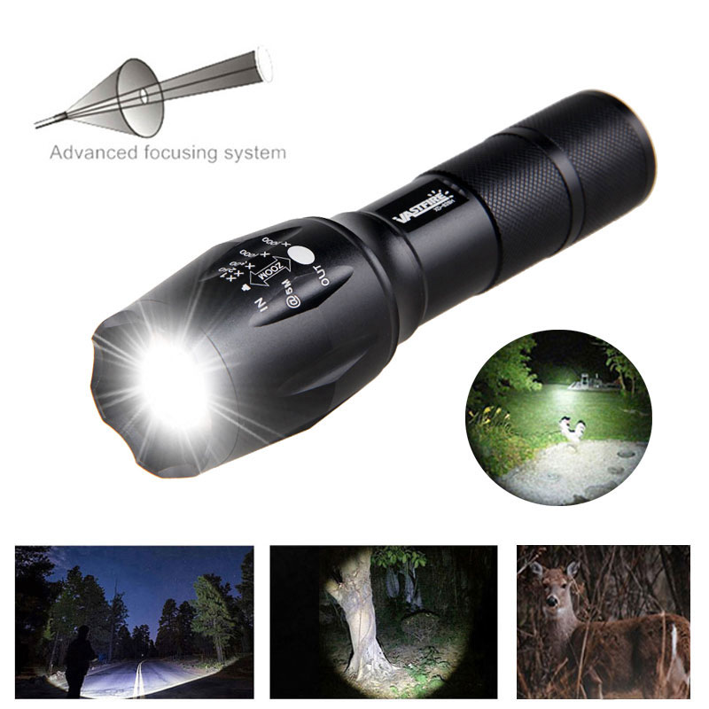 5000LM XM-L T6 LED Flashlight Hunting Zoomable Torch Outdoor Night Lamp Light QQ