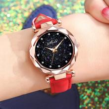 цена на New Luxury Rhinestone Index Starry Sky Round Dial Faux Leather Band Lady Quartz Wrist Watch Fashion Woman watch
