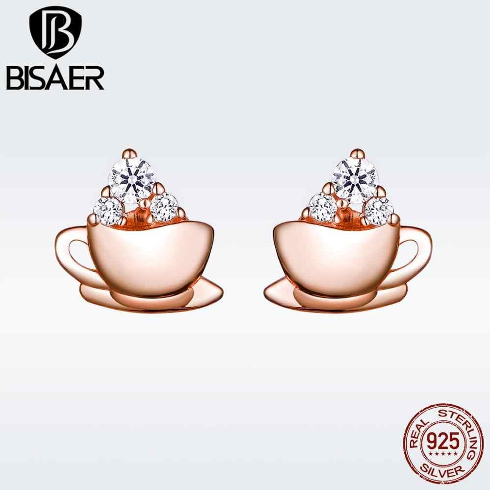 BISAER สไตล์น่ารัก 925 เงินสเตอร์ลิง Rose Gold สีเล็กๆถ้วยกาแฟต่างหูแฟชั่นเครื่องประดับเกาหลี GXE592
