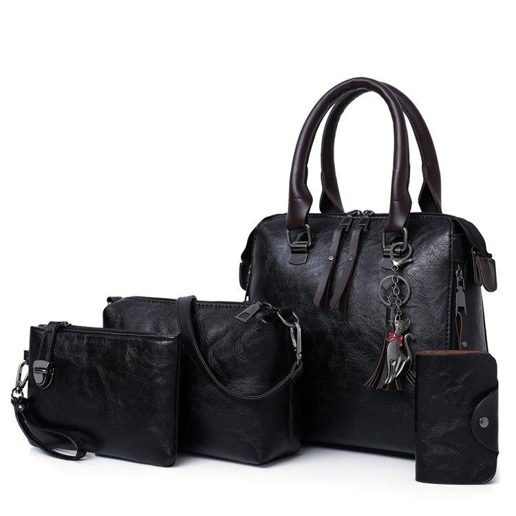 New Ladies Handbags Women Composite Bags Female PU Leather Shoulder Messenger Bags Tote 4pcs/Set Hand Bag  High Quality
