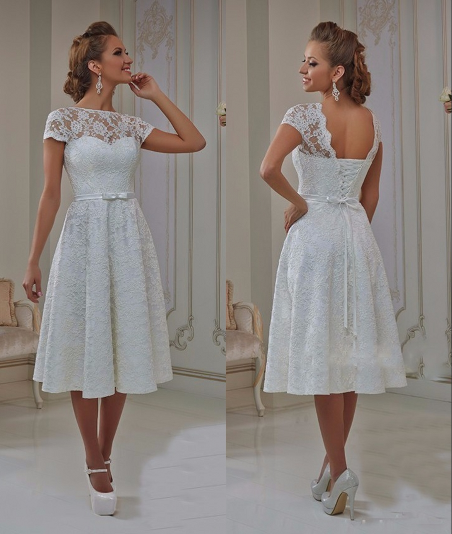 Vintage Lace Tea Length Short Wedding Dresses 18 With Cap Sleeves A line  Open Back 18s Casual Reception Bridal Gowns New