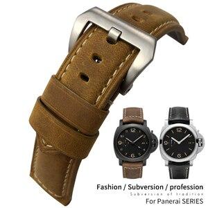 24 мм Высокое качество телячьей кожи ремешок для часов Замена для PANERAI LUMINOR 1950 PAM00441/00359/00510 Pin Пряжка ремень для мужчин