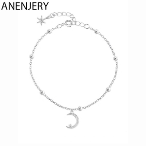 ANENJERY Romantic Silver Color Zircon Moon Star Bracelet For Women Girl Gift pulseras S-B100