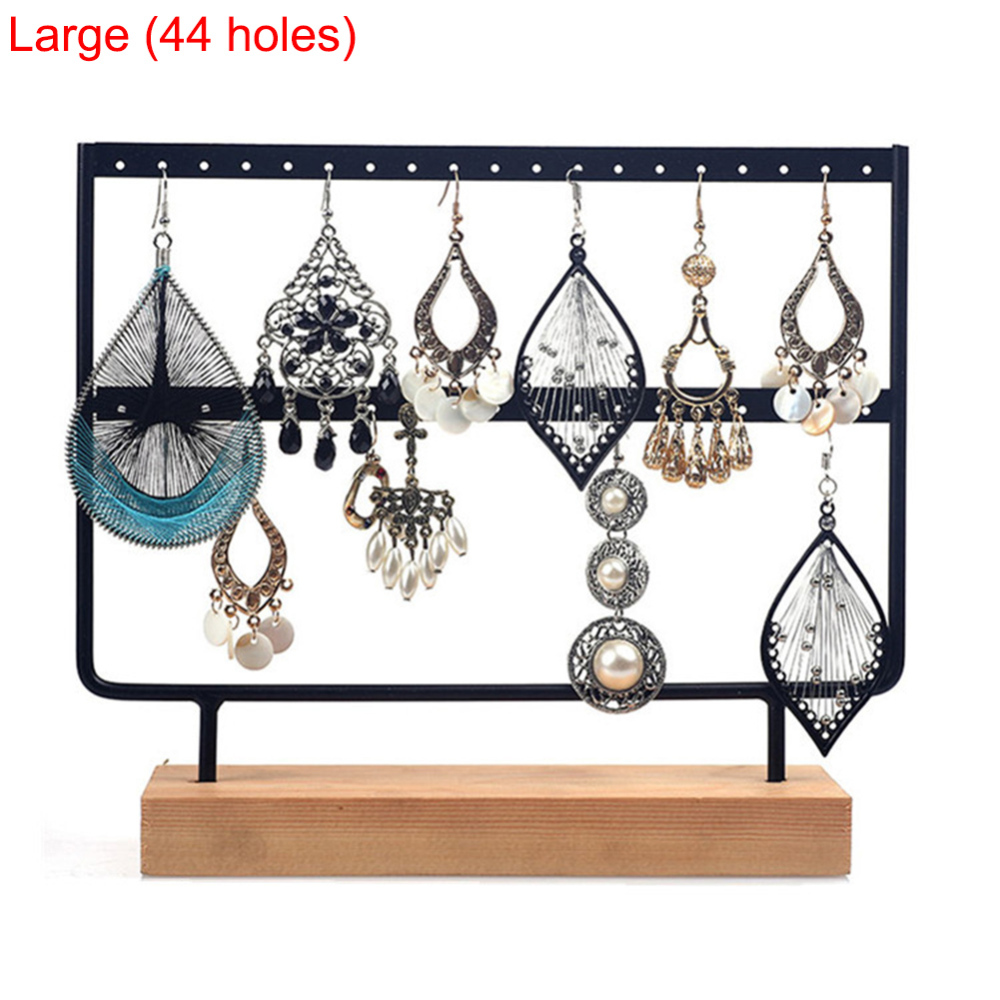24/44 Hole Creative Wood Iron Combination Earrings Organizer Jewelry Holder Necklace Bracelet Rack Jewelry Display Stand Packing