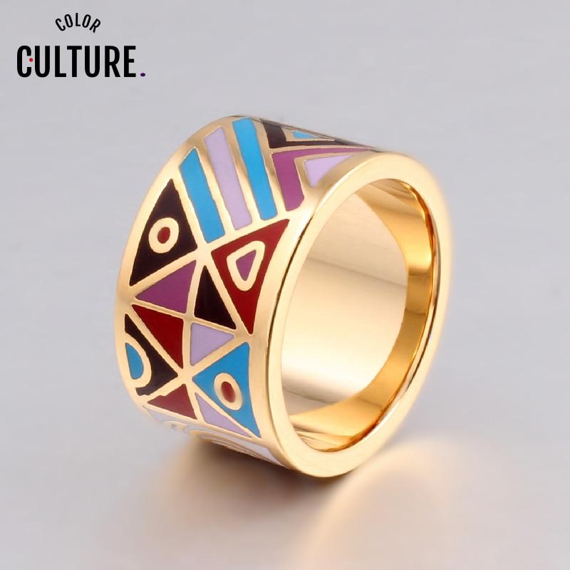 Novi vrhunski retro elegantni klasični nehrđajući čelik veliki prstenovi za žene dizajnere 1.3cm popularni nakit od emajla