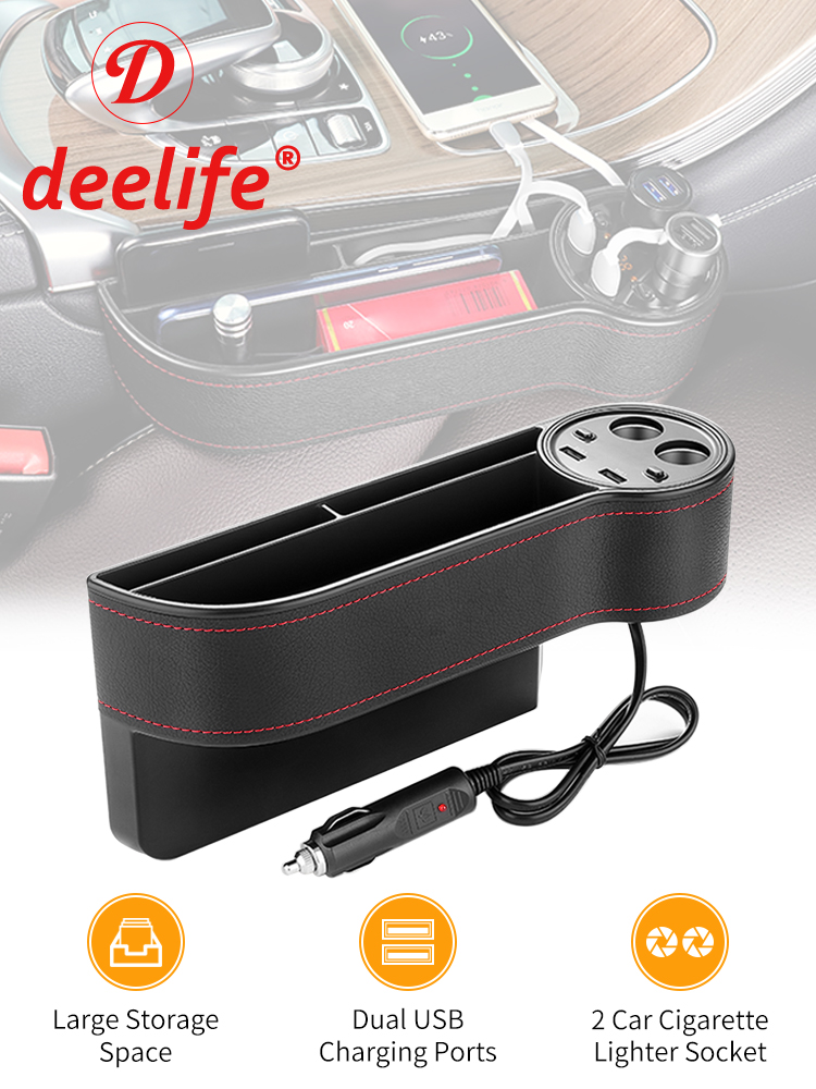 Deelife Case Cup-Holder Storage-Box Car-Organizer Seat-Gap Side-Slit Pocket Auto Multifunctional