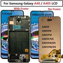"""5.9 """"Samsung Galaxy A40 LCD A405 A405F A405FN/D A405DS ekran dokunmatik ekran ile çerçeve Samsung için dijitalleştirici montajı A40 LCD"""