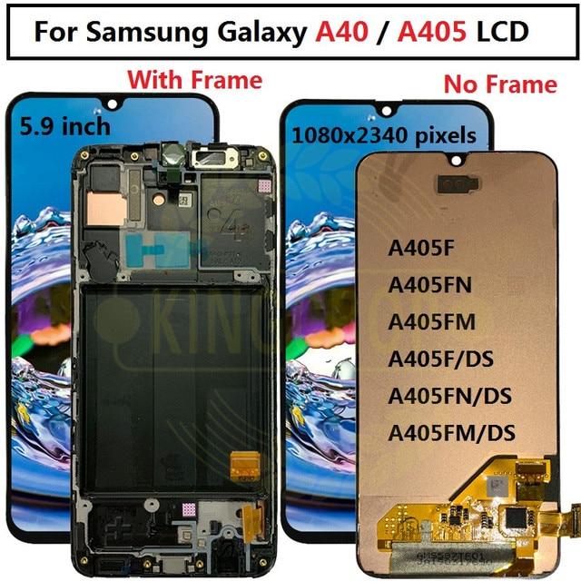 """5.9 """"עבור Samsung Galaxy A40 LCD A405 A405F A405FN/D A405DS תצוגת מסך מגע עם מסגרת Digitizer עצרת עבור SAMSUNG A40 LCD"""