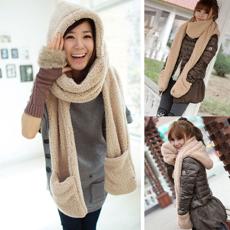 Winter Warm Women Hoodie Gloves Pocket Earflap Hat Long Scarf Shawl Snood Wraps  EIG88