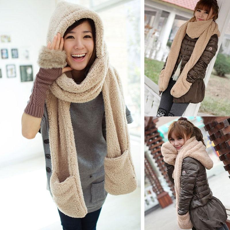 Winter Warm Women Hoodie Gloves Pocket Earflap Hat Long Scarf Shawl Snood Wraps  EIG88