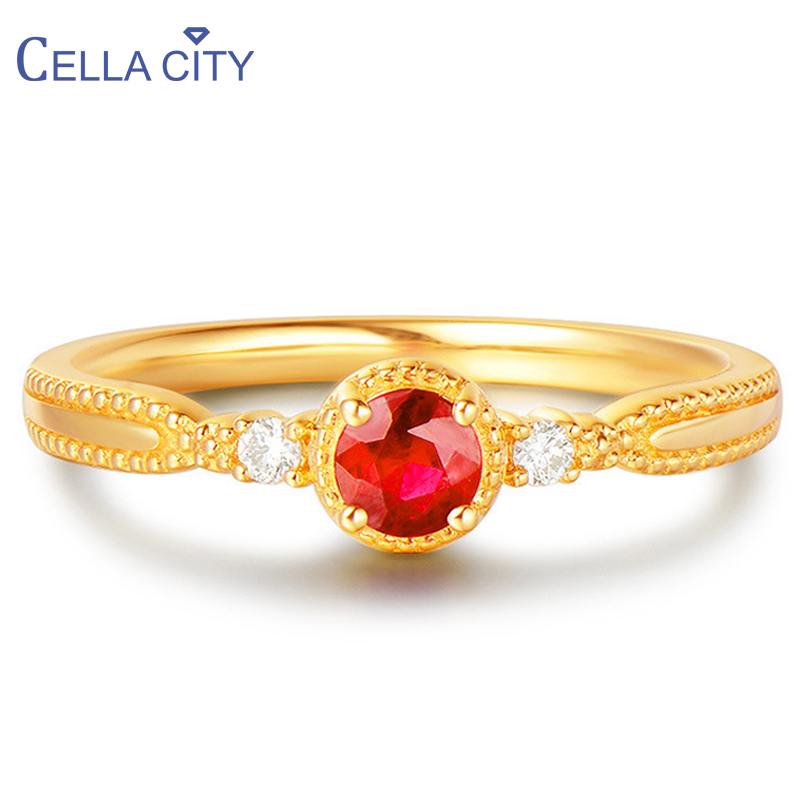 Cellacity 925 Silver Ring With Round Creative Ruby Gemstone For women Gold color charm lady fine jewellery wedding party gift