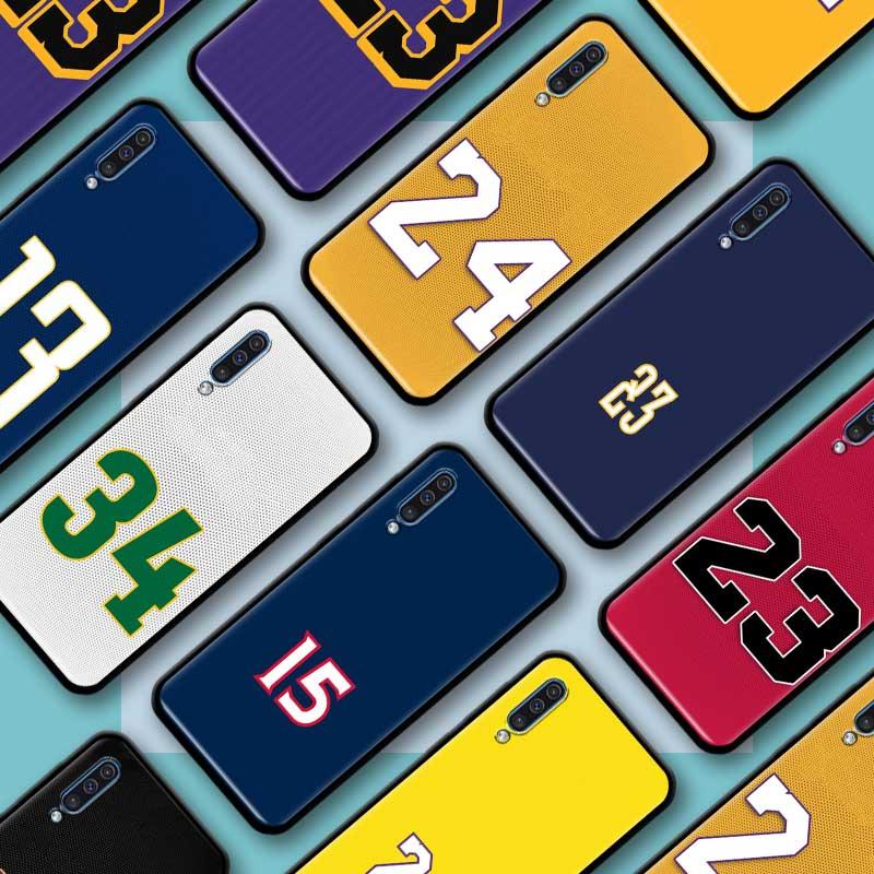 Black Tpu Capa For Samsung Galaxy A70 A50 A40 A30 A20 A70s 50S A10 A60 A80 Cases Soft Fall Casos Basketball 23 24 Number