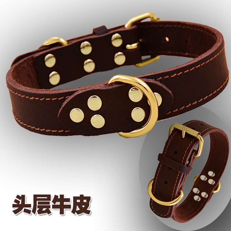 Foreign Trade Pet Cow Leather Collar Handmade Large Bite-proof Protector Explosion-Proof Training Collar Double-Line Imported Le