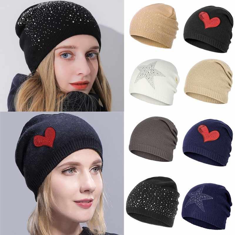 Mode Strass Glitter Hoeden Vrouwen Winter Gebreide Caps Soft Beanie vrouwen Hoed Vrouwelijke Katoenen Cap Meisjes Skullies Mutsen