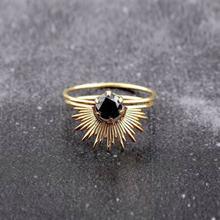 Anillo de cóctel de circonia negra y oro único, anillos de cristal sencillos a la moda, sortija de compromiso, joyería de aniversario, regalos para enamorados