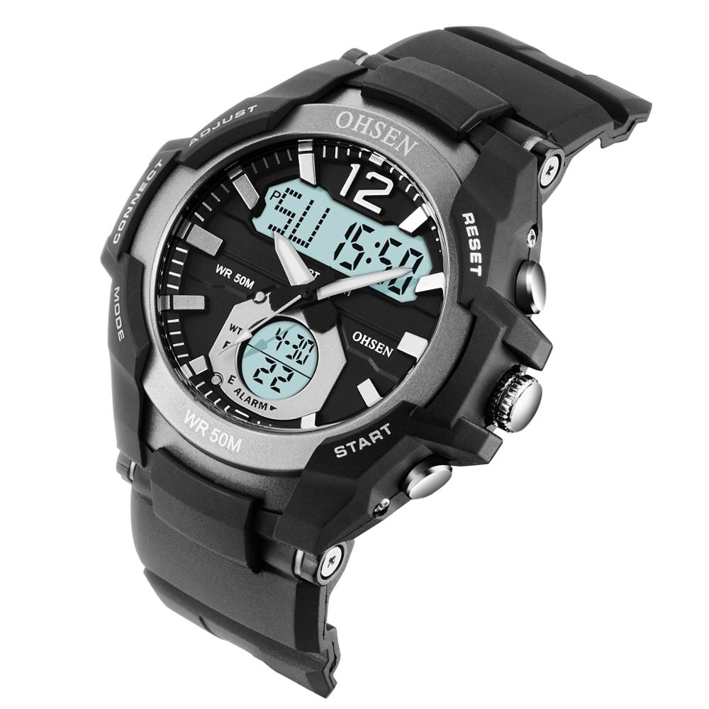 OHSEN Waterproof Digital Quartz Men's <font><b>Watches</b></font> Fashion Grey army Outdoor Sport man Wristwatch Silicone Electronic Male clocks image
