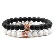 2Pcs/Set  8mm white Stone and Matte Black Beads Bracelet Pave CZ 4 colors Crown Bracelets For Women Men Cassic Jewelry Pulseras стоимость