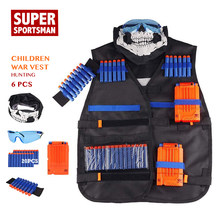 Men Hunting Military Equipment Tactical Vests Kids Army Airsoft Combat Mask Children Sniper Clothes Suits Outdoor Toys Set 6pcs(China)