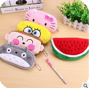 Kawaii Cartoon Animal Large Capacity Plush Pencil Case Holder Storage Pouch Pencil Bag Promotional Gift Stationery