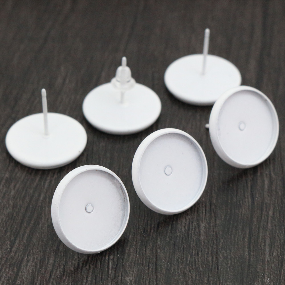14mm 20pcs/Lot White Colors Plated Earring Studs,Earrings Blank/Base,Fit 14mm Glass Cabochons,Earring Setting-O5-01