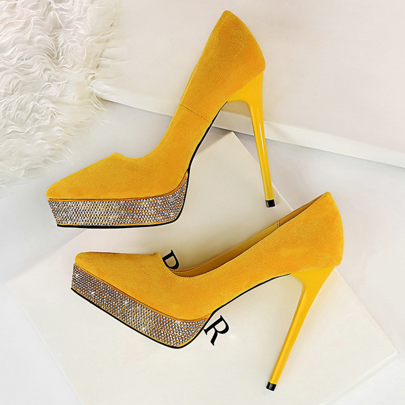 2020 Women Stripper <font><b>Extreme</b></font> 12cm <font><b>High</b></font> <font><b>Heels</b></font> Suede Platform Pumps Lady Scarpins Yellow <font><b>Heels</b></font> <font><b>Sexy</b></font> Crystal <font><b>Fetish</b></font> Stiletto <font><b>Shoes</b></font> image