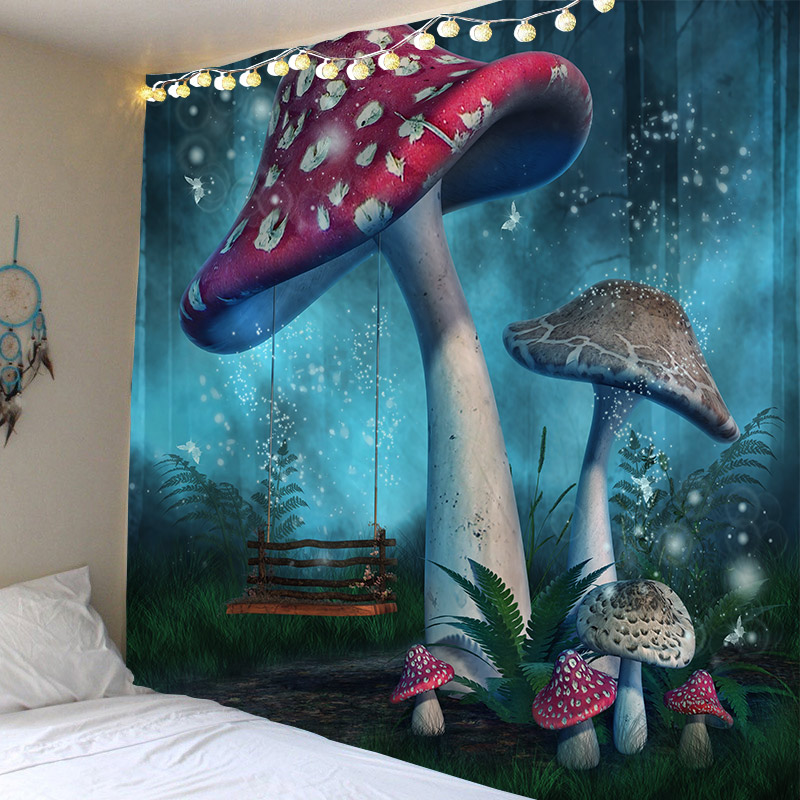 Psychedelic Tapestry Witchcraft Mushroom Tapestries Green Forest Tapzi Wall Hanging For Home Deco Living Room Bedroom Large Size