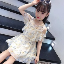 Girls Chiffon Dress Girl Summer Princess Dress Student Bohemia Style Beach Mesh Lace Dresses Children Clothing 8 10 12 14 Years dresses for girls of 12 years old girls summer dress children puff yarn princess dress baby girl clothing for age 8 10 12 14
