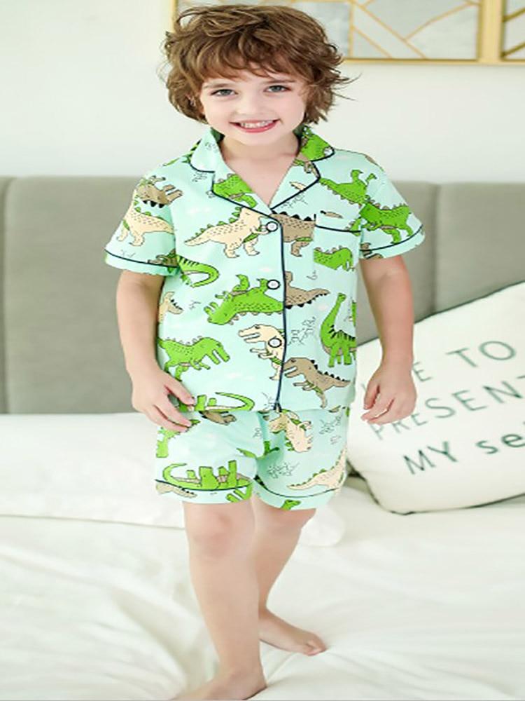 SAILEROAD 2020 Children Pajamas For Girls Cotton Short Pyjamas Kids Pijama Infantil Boys Sleepwear Child Home Wear Clothes Suits 6