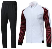 Voetbal Jas Broek Set, Wit Bruin Survetements De Voet Homme 2019 2020 Trainingspak Training Voetbal Trainingspak Voetbal Tenues(China)