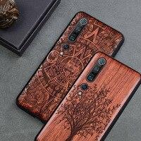Carved Wood Case For Xiaomi mi 10 Xiomi mi 10 pro Shockproof Case TPU Cover On Xiaomi mi 10 mi10 pro Case Wood Shell