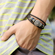 2019 New Charm Braided  Leather Wristband  adjustable Jewellery For Womenbeaded Men  Bracelets cuff bracelet for student punk