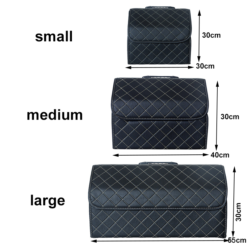 Image 2 - Car Storage Bag PU Leather Trunk Organizer Box Storage Bag Folding Folding Car Trunk Stowing Tidying For Car SUVStowing Tidying   -